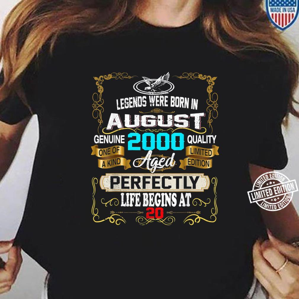 Legends Born In AUGUST 2000 20th Birthday 20 years old Shirt ladies tee