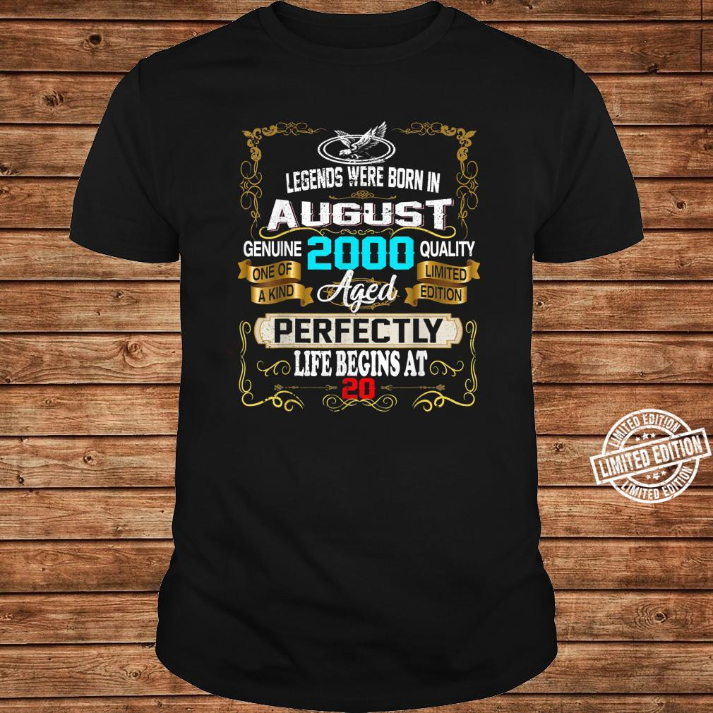 Legends Born In AUGUST 2000 20th Birthday 20 years old Shirt long sleeved
