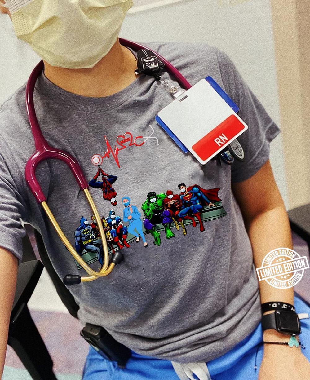 Nurse And Superheroes Heartbeat Stethoscope Shirt