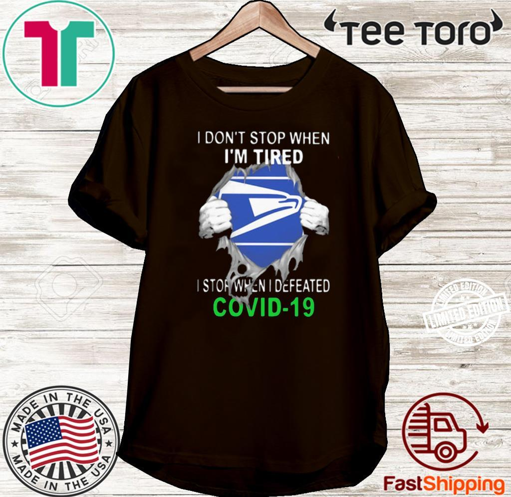 Official US Postal Service Blood Inside I Stop When I Defeated Covid-19 Shirt