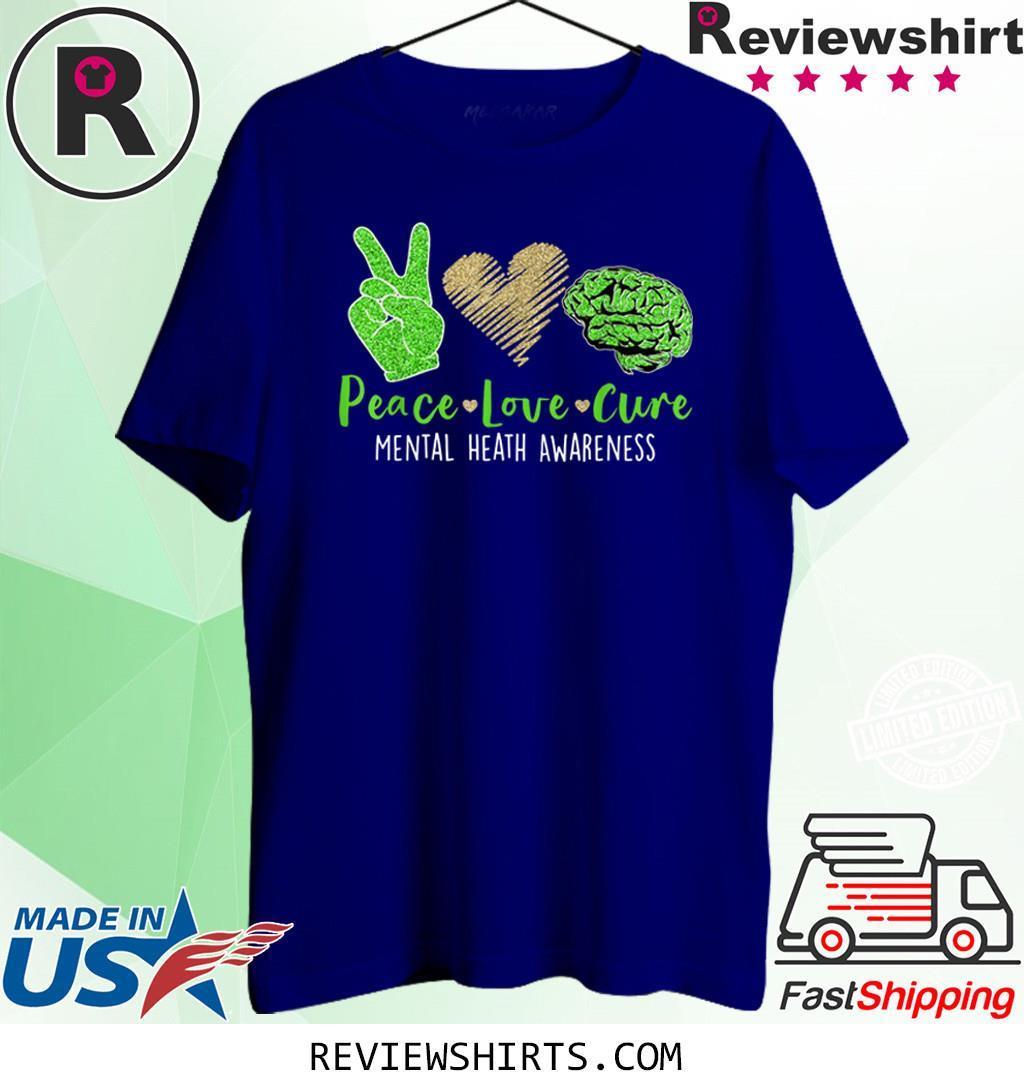 Peace Love Cure Mental Heath Awareness Costume Ribbon Shirt