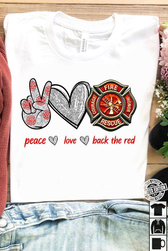 Peace love back the red shirt