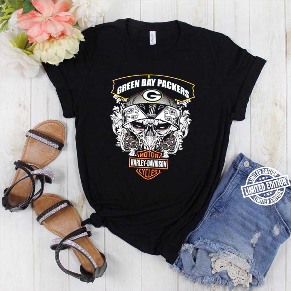 Skull Green Bay Packers Motor Harley Davidson Cycles shirt