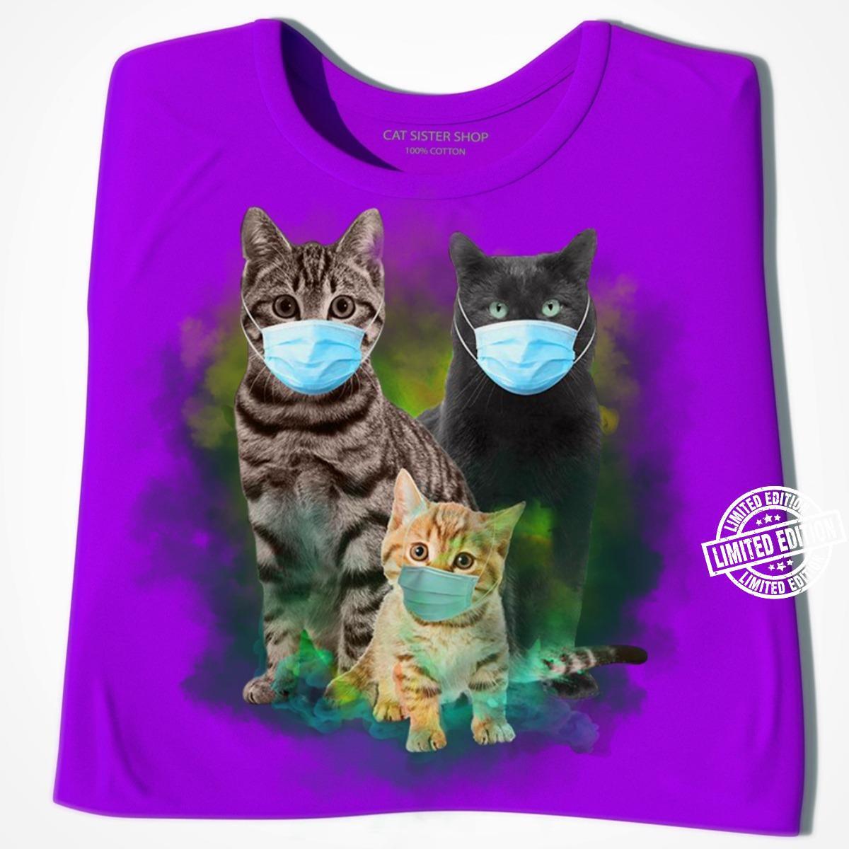 Three cat face mask shirt